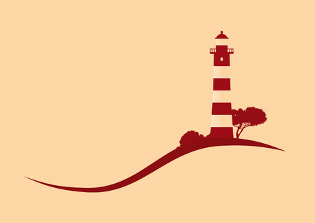 hillside red striped lighthouse vector illustration Ilustracja