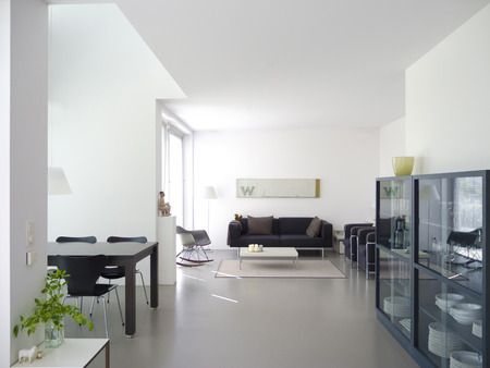 modern private living and dining room with copy space for your own images Archivio Fotografico