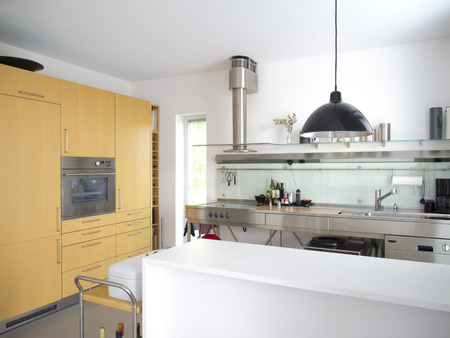 pantry: modern open kitchen or pantry interior with stainless steel furniture Stock Photo