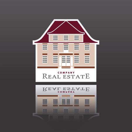 gable: stylized classicistic mansion pictogram or logogram Illustration