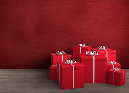 a large amount of red gifts for birthday or christmas photo