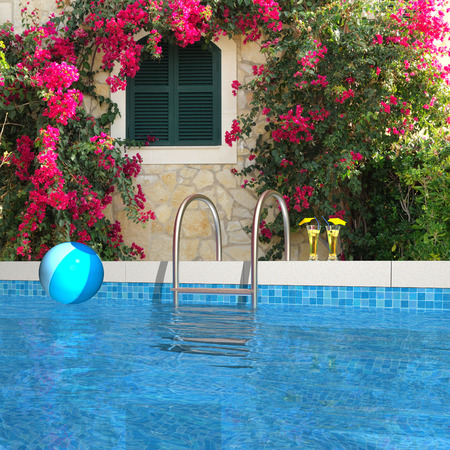 bougainvillea: FICTITIOUS swimming pool in the garden, rendered composite 3d image
