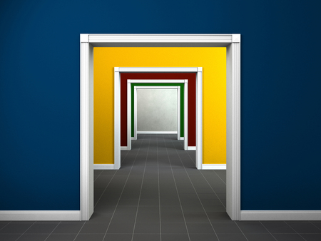interior image showing the passage through multicolored rooms photo