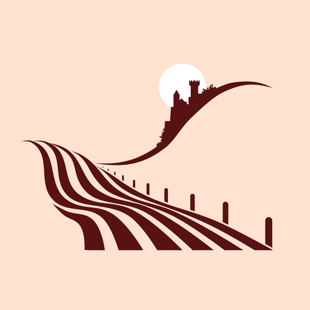 agrario: estilizado paisaje agrario con un castillo en el fondo Vectores