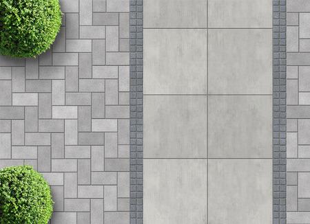 exterieur detail in luchtfoto met doorlatende verharding Stockfoto