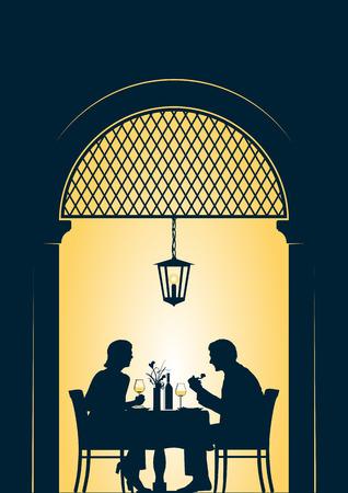 레스토랑 그림에서 젊은 부부 식사 일러스트