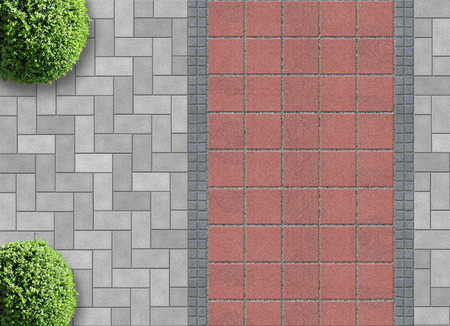 exterior detail in aerial view with permeable pavier