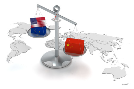 us sizes: conceptual 3d render concerning the increased chinese power Stock Photo
