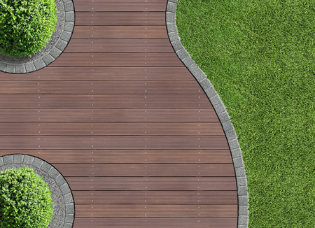 paving stone: garden detail in aerial view with wooden terrace Stock Photo