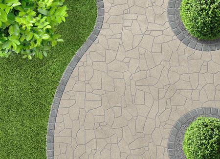 garden landscape: aesthetic garden design detail in aerial view