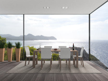 Fictitious interior architecture with fantastic view to the sea