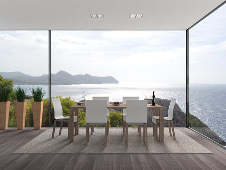 바다 환상적인 전망과 함께 가상 실내 건축 스톡 콘텐츠