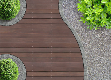 aesthetic garden design detail seen from above 写真素材