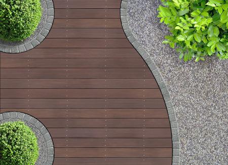 위에서 본 미적 정원 디자인의 세부 사항 스톡 콘텐츠