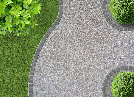 concrete form: garden design detail with curves seen from above