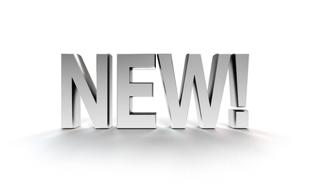 letras cromadas: nuevo en letras cromadas sobre fondo blanco