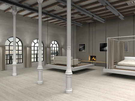 F I C T I T I O U S residential loft illustration with moveable living room and bedroom illustration