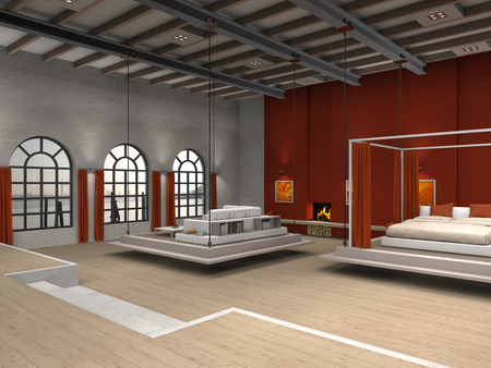 fictitious residential loft illustration with moveable living room and sleeping room illustration