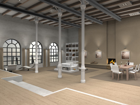 F I C T I T I O U S 3D loft interior rendering living and dining room photo