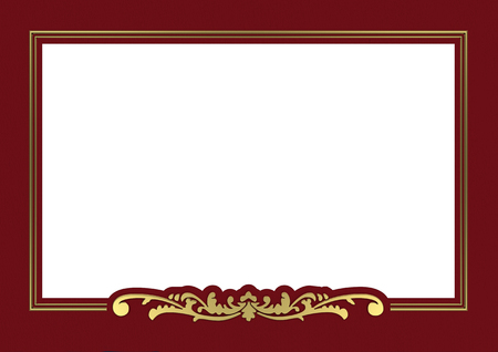 maroon: vintage golden frame background with copy space