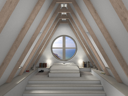 mansard: FICTITIOUS 3D attic bedroom interior with fantastic view Stock Photo