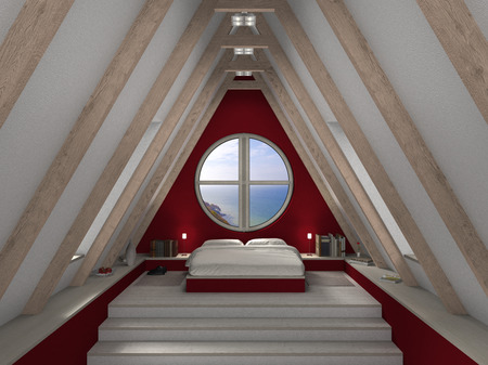 FICTIOUS 3D mansard bedroom with fantastic view photo
