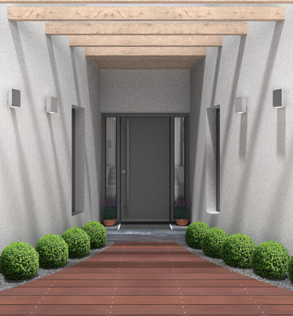 3D rendering of a modern home entrance