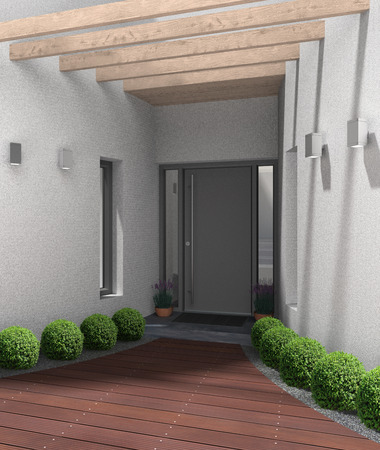 front entry: fictitious 3D rendering of a modern home entrance