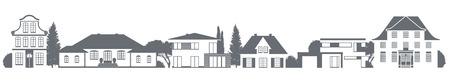 ein Vektor Vielzahl von Häusern in verschiedenen Baustilen Vektorgrafik