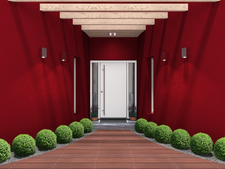 front entry:  3D rendering of a modern home entrance Stock Photo