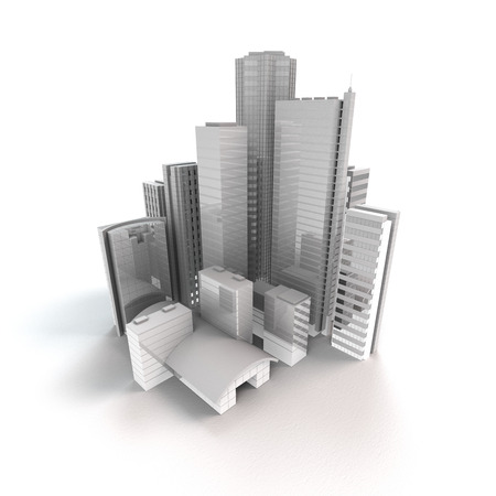 real estate background: 3D rendering of a modern city with fictitious isolated on buildings