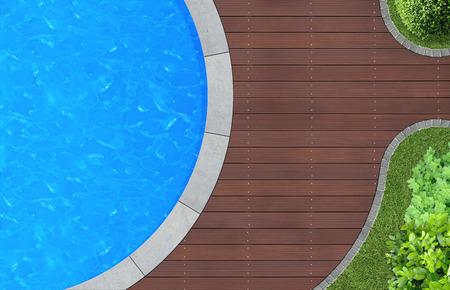 swimming pool in ornamental garden from above Archivio Fotografico