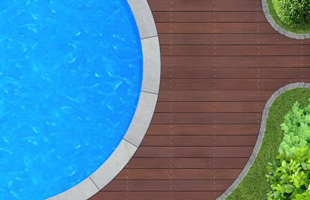 swimming pool in ornamental garden from above Banque d'images