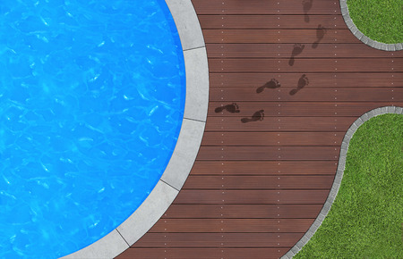 view from the above: summer holidays image with swimming pool in aerial view Stock Photo