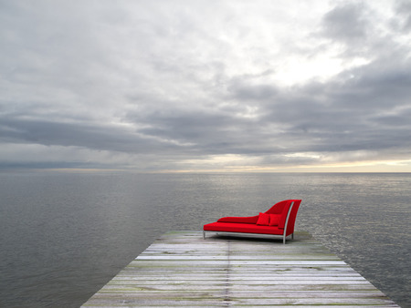 chaise longue: a nice place with fictitious recamier to enjoy the sea