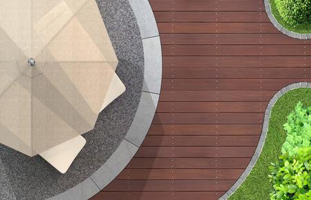 양산 및 갑판 의자 현대 정원 아키텍처