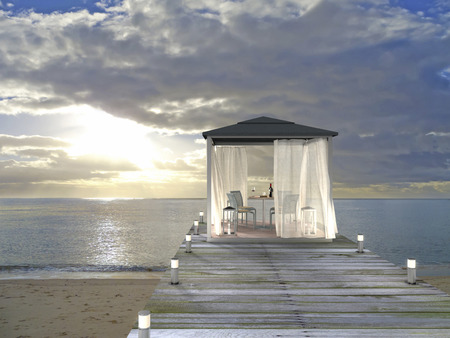 fictitious: 3D rendering showing a fictitious pavilion at the beach