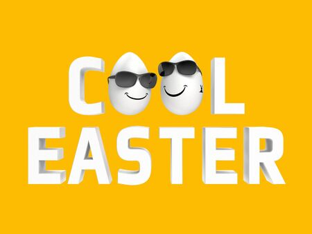humorous cool easter image with two white eggs photo