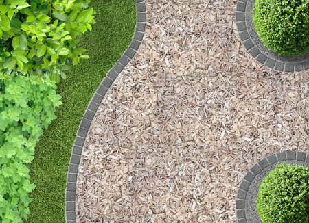 lawn grass: garden detail in aerial view with chaff path