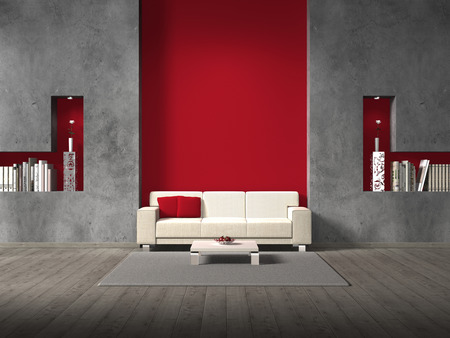 fictitious modern living room with sofa and copyspace for your own image / all book covers are fictitious and designed by me - no rights are Infringed