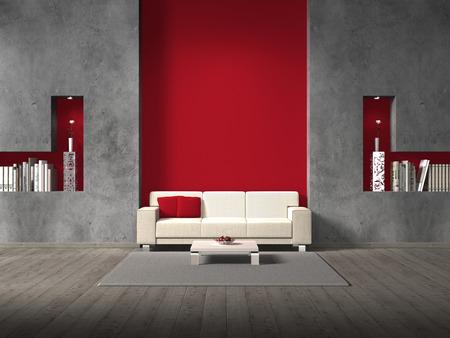 fittizia moderno soggiorno con divano e copyspace per la propria immagine  tutte le copertine dei libri sono fittizi e progettato da me - non prerogative