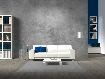 interior design living room: modern living room with white sofa fictitious and copyspace for your own photos image.The the photos in the background are taken by me - no rights are Infringed