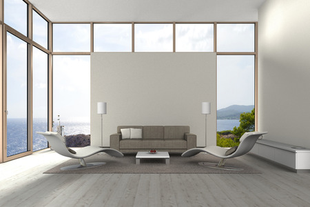 mediterranean home: fictitious modern living room with a view to the sea