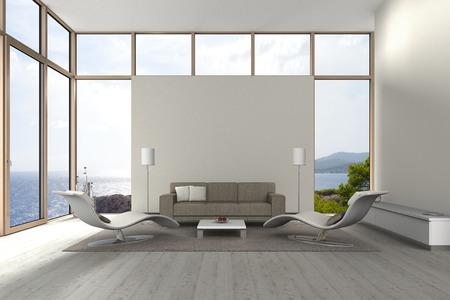 case moderne: fittizia moderno soggiorno con vista sul mare