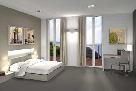 indoor photo: fictitious 3D rendering of a bedroom or hotel room