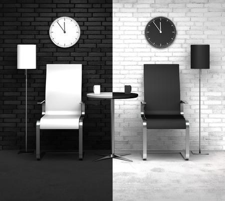 concerning: conceptual 3D rendering: concerning time or day and night Stock Photo