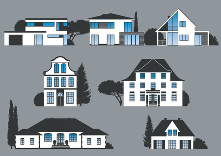 pitched roof: icons of different houses, manors and villas Illustration