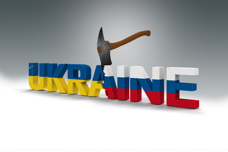 hassle: symbolic splitting of Ukraine, Europe and Russia Stock Photo
