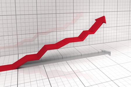 stock market exchange: leading upwards arrow in stock market exchange