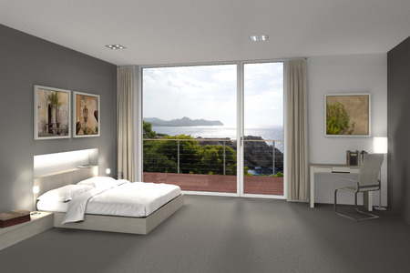 fictitious: fictitious 3D rendering of a bedroom or hotel room